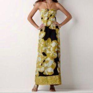 Loft Floral Black Yellow Bloom Maxi Dress NEW